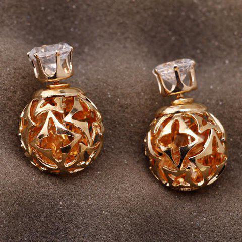 Pair of Elegant Double-End Faux Zircon Flowers Hollow Out Stud Earrings For Women