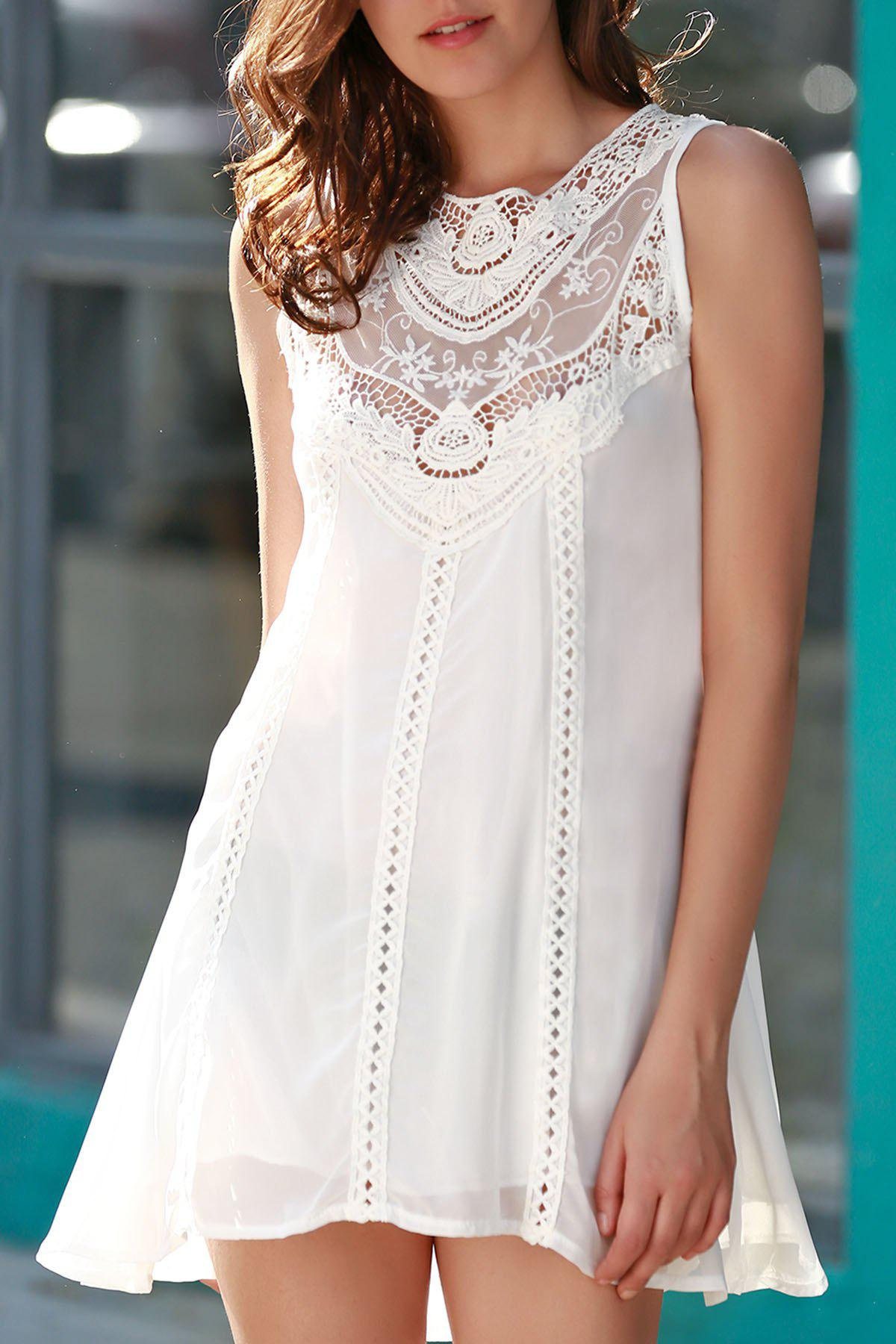 Stylish Jewel Neck Sleeveless Spliced Openwork White Women's Chiffon Dress - WHITE L