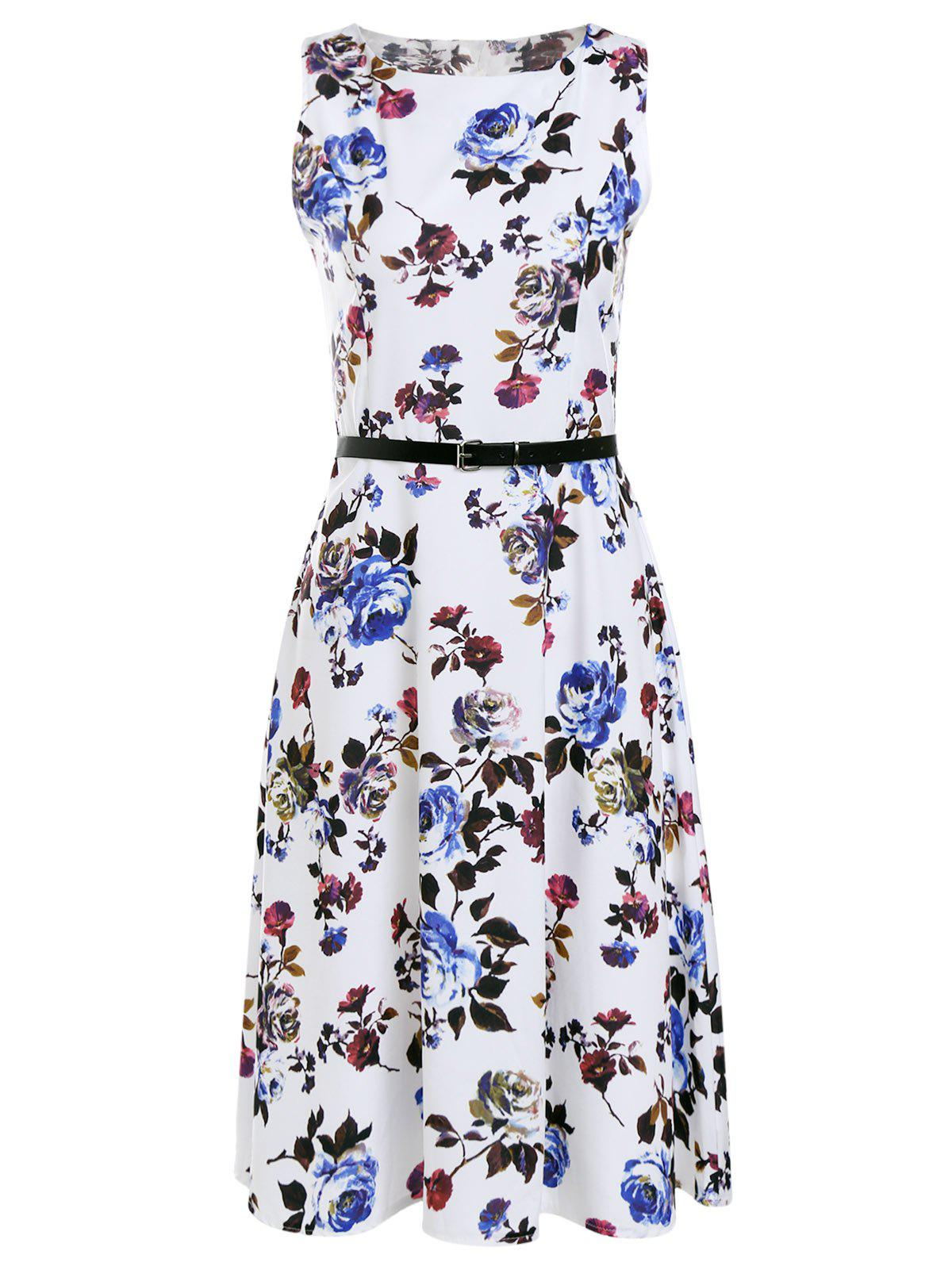 Vintage Sleeveless Roses Print Belted Pleated Dress For Women - WHITE M