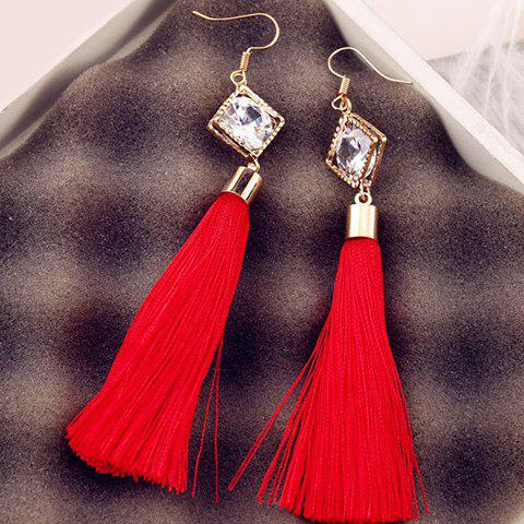 Rhombus Fake Zircon Tassel Drop Earrings - RED