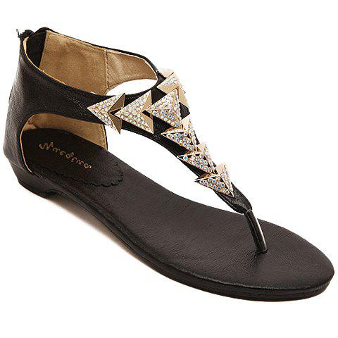 Stylish Metallic and Flip Flop Design Women's Sandals - BLACK 36
