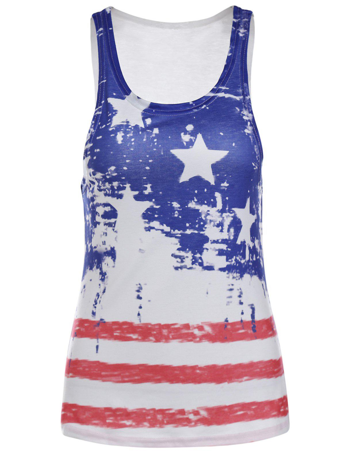 Fashionable Sleeveless Scoop Neck Striped Star Print Women's Tank Top