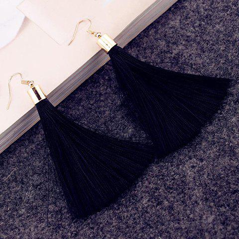 Pair of Elegant Red Tassel Drop Earrings For Women - BLACK
