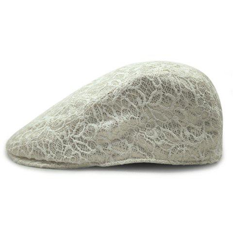 Chic Solid Color Lace Embellished Sun-Resistant Women's Beret - OFF WHITE