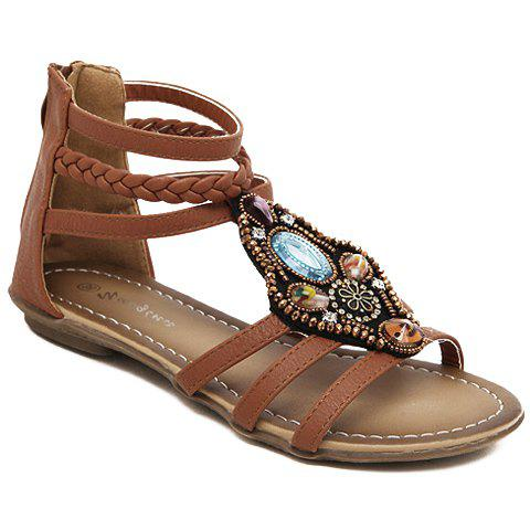 Casual Flat Heel and Weaving Design Womens SandalsShoes<br><br><br>Size: 37<br>Color: BROWN