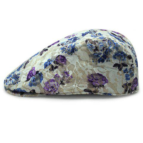 Chic Blue and Purple Flower Pattern Lace Embellished Sun-Resistant Women's Beret - PURPLE