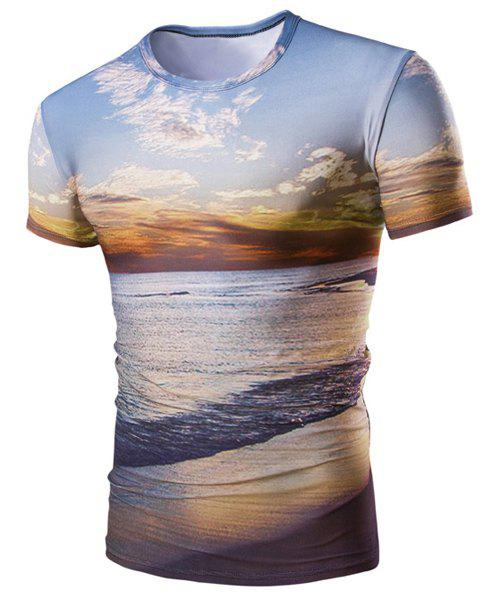 Hot Sale Round Neck 3D Sunset Coast Print Men's Short Sleeves T-Shirt - COLORMIX M