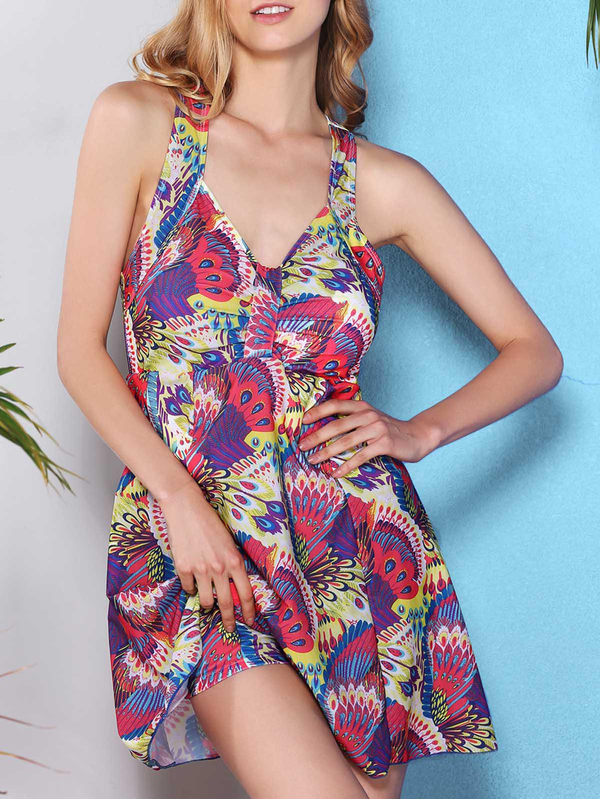 Fresh Style V Neck Cross-Back Printed One Piece Women's Swimwear - ROSE M