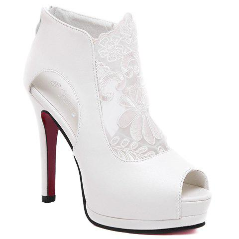 Trendy Lace and Peep Toe Design Women's Sandals - WHITE 37