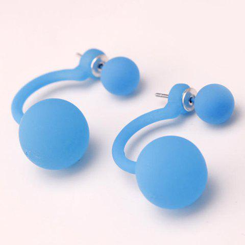 Pair of Simple Candy Solid Color Stud Earrings For Women -  BLUE