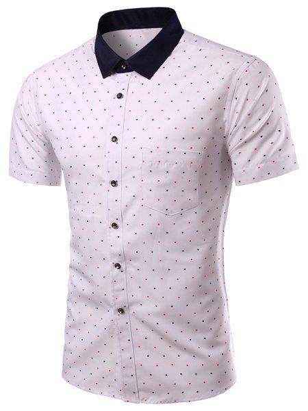 Color Block Colorful Dot Print Turn-down Collar Short Sleeves Men's Slimming Shirt - WHITE 2XL