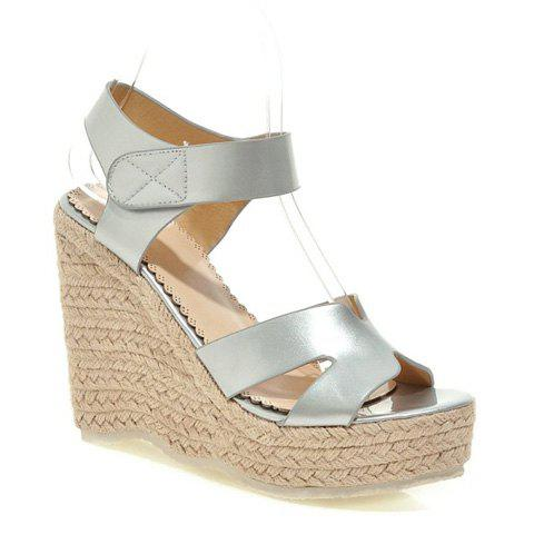 Fashionable Solid Colour and Weaving Design Women's Sandals - SILVER 38