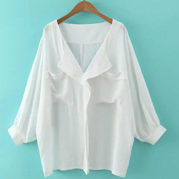 Dolman Sleeve Front Pockets Blouse - WHITE M