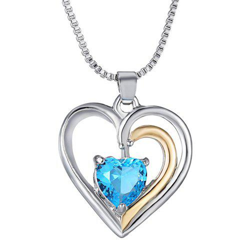 Rhinestone Heart Shape Necklace - SILVER