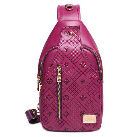 Casual Embossing and Solid Color Design Women's Crossbody Bag - PURPLE