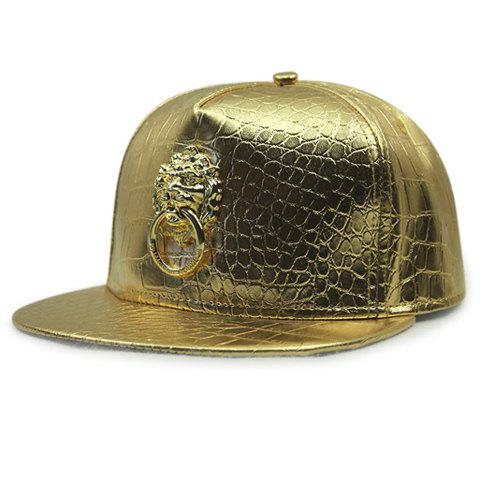 Stylish Lion Shape Door Holder Embellished Men's Golden PU Baseball Cap - GOLDEN