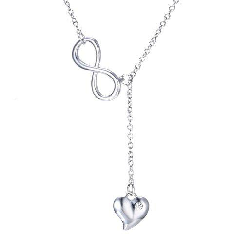 Charming Rhinestone Heart Infinite Necklace For Women - SILVER