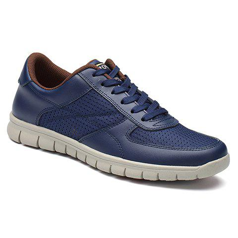 Fashionable Mesh and Solid Colour Design Men's Casual Shoes - DEEP BLUE 42