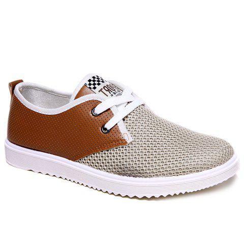Trendy Mesh and Lace-Up Design Men's Casual Shoes - BROWN 40