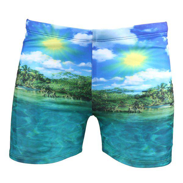 Elastic Waist Seaside Printing Swimming Trunks For Men