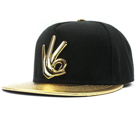 Stylish OK Sign Shape Embellished PU Brim Men's Baseball Cap - GOLDEN