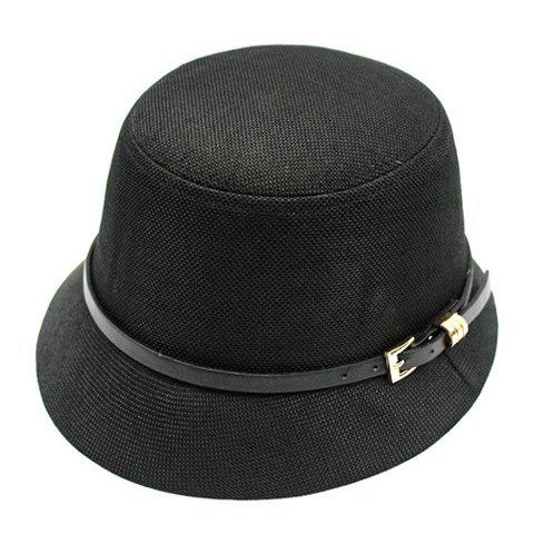 Chic Pin Buckle Belt Embellished Flat Top Women's Flax Bucket Hat - BLACK