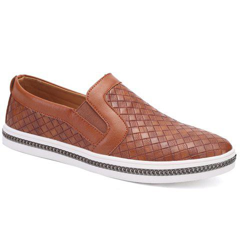 Casual Weaving and Solid Color Design Men's Loafers - BROWN 40