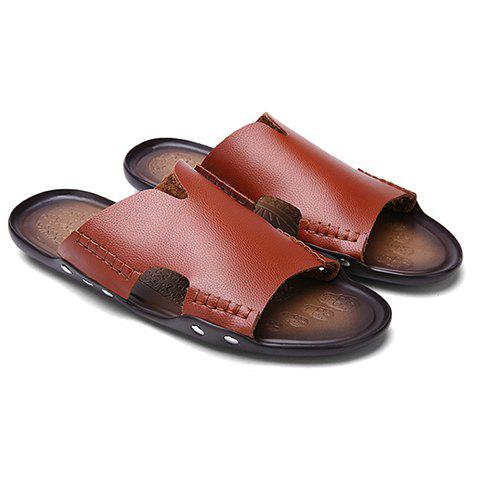 Leisure Stitching and PU Leather Design Men's Slippers - BROWN 43