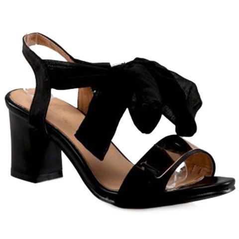 Fashion Chunky Heel and Ribbon Design Women's Sandals - BLACK 39