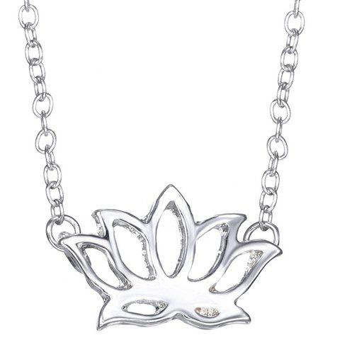 Simple Lotus Shape Hollow Out Pendant Necklace For Women - SILVER