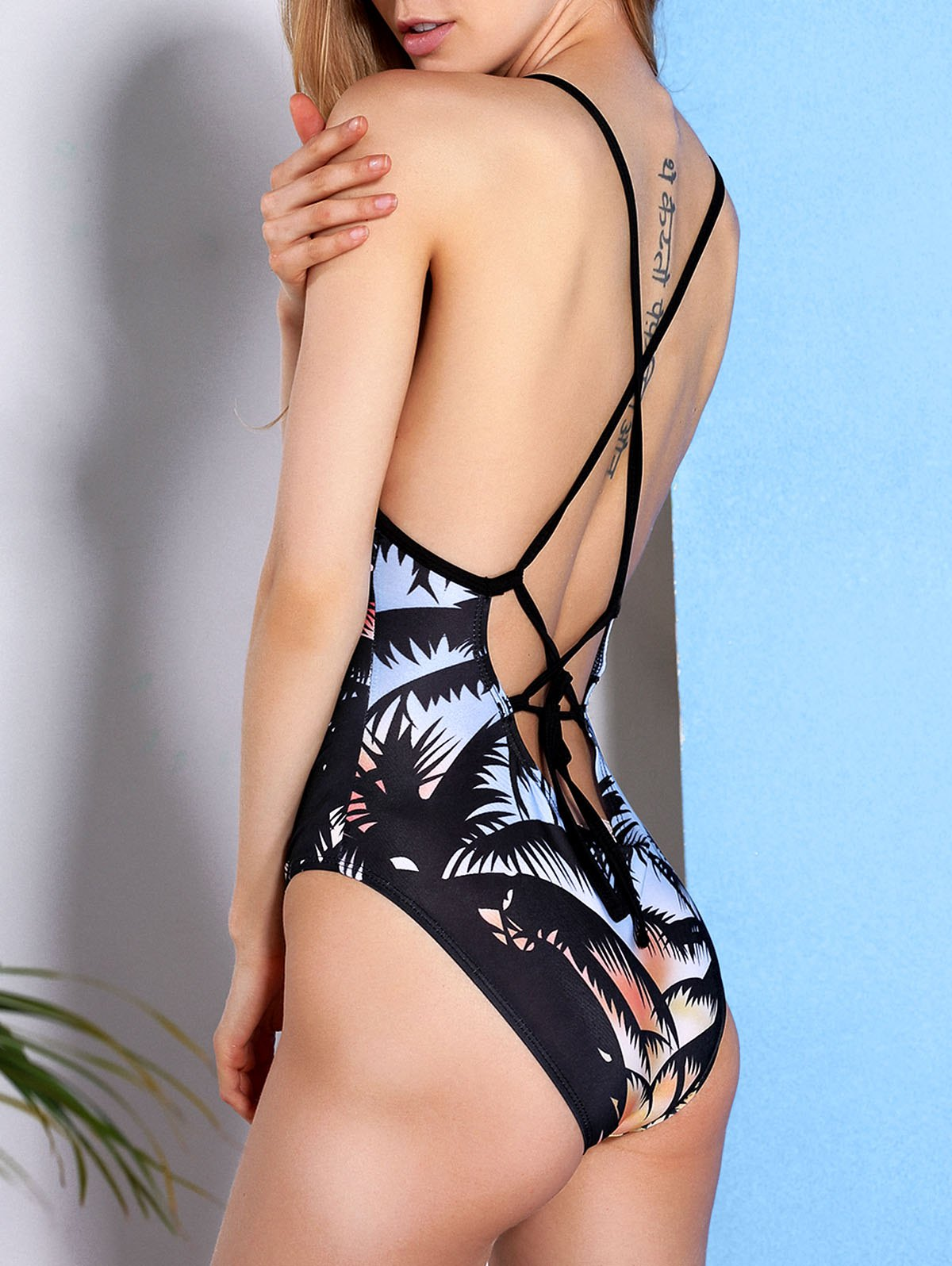 Palm Tree Print Strappy Swimsuit - COLORMIX S