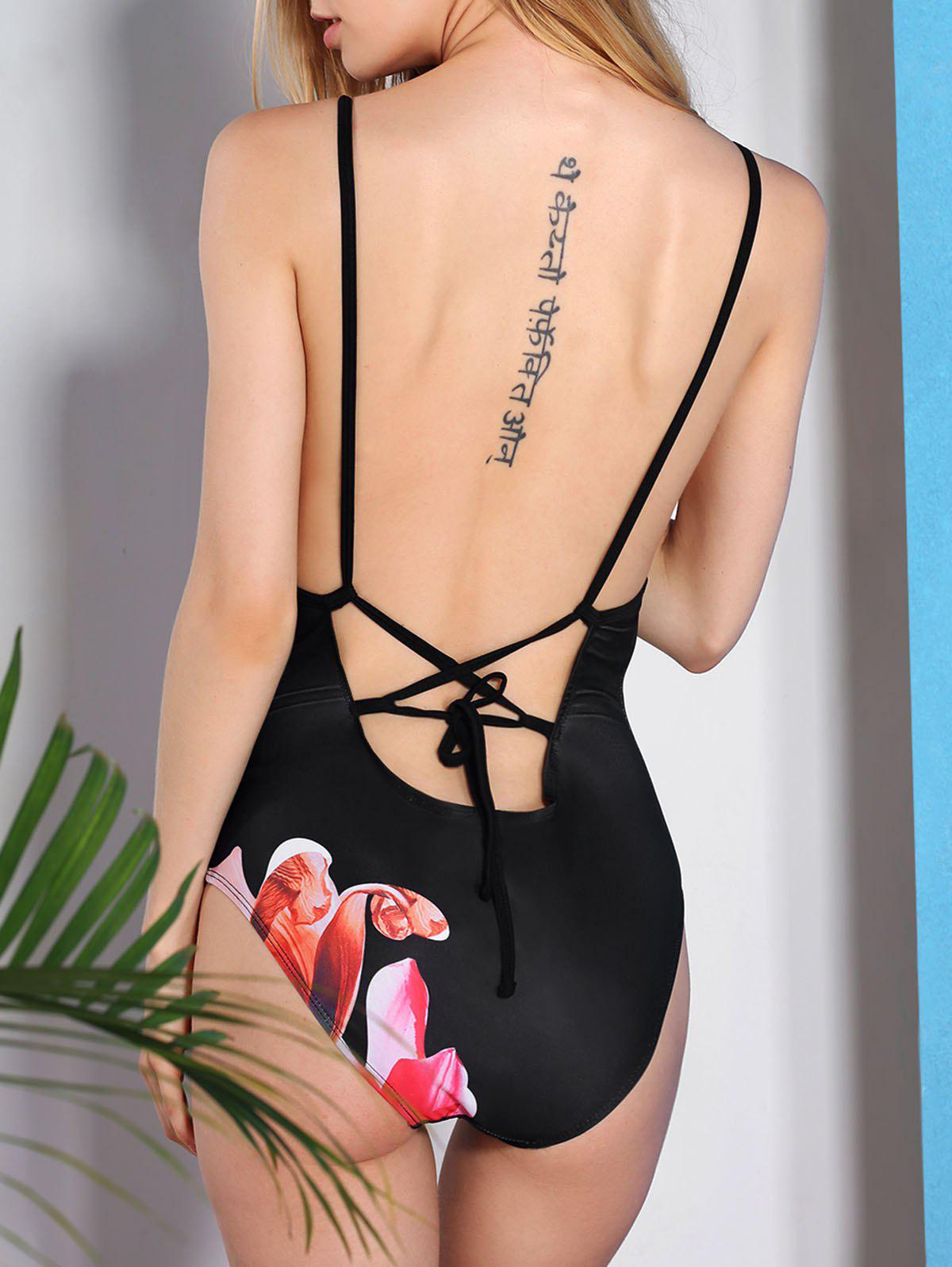 Vintage Criss-Cross Flower Printed One-Piece Swimwear For WomenWomen<br><br><br>Size: S<br>Color: BLACK
