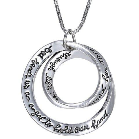 Irregular Ring Shape Letters Pattern Pendant Necklace - SILVER