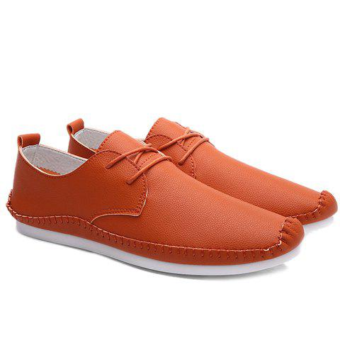 Concise Stitching and PU Leather Design Men's Casual Shoes - ORANGE 39