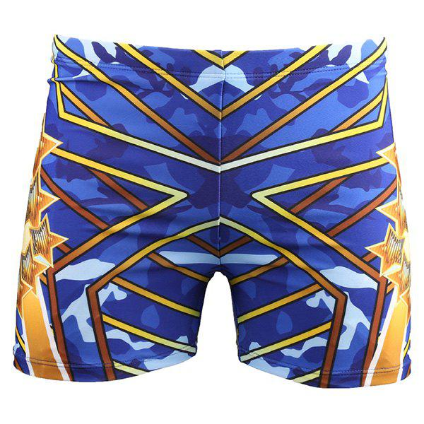 Elastic Waist Color Block Men's Swimming Trunks - BLUE 4XL