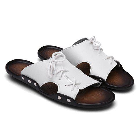 Simple Solid Colour and Lace-Up Design Men's Slippers - WHITE 40