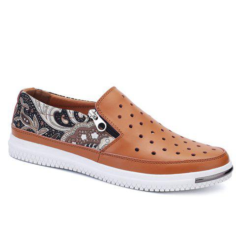 Stylish Print and Hollow Out Design Men's Casual Shoes - BROWN 42