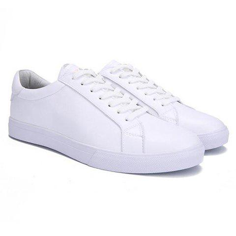 Stylish PU Leather and Solid Color Design Men's Casual Shoes - WHITE 44
