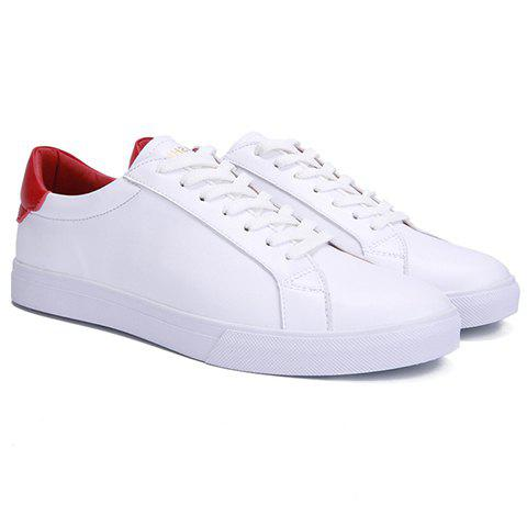 Simple Color Matching and PU Leather Design Men's Casual Shoes