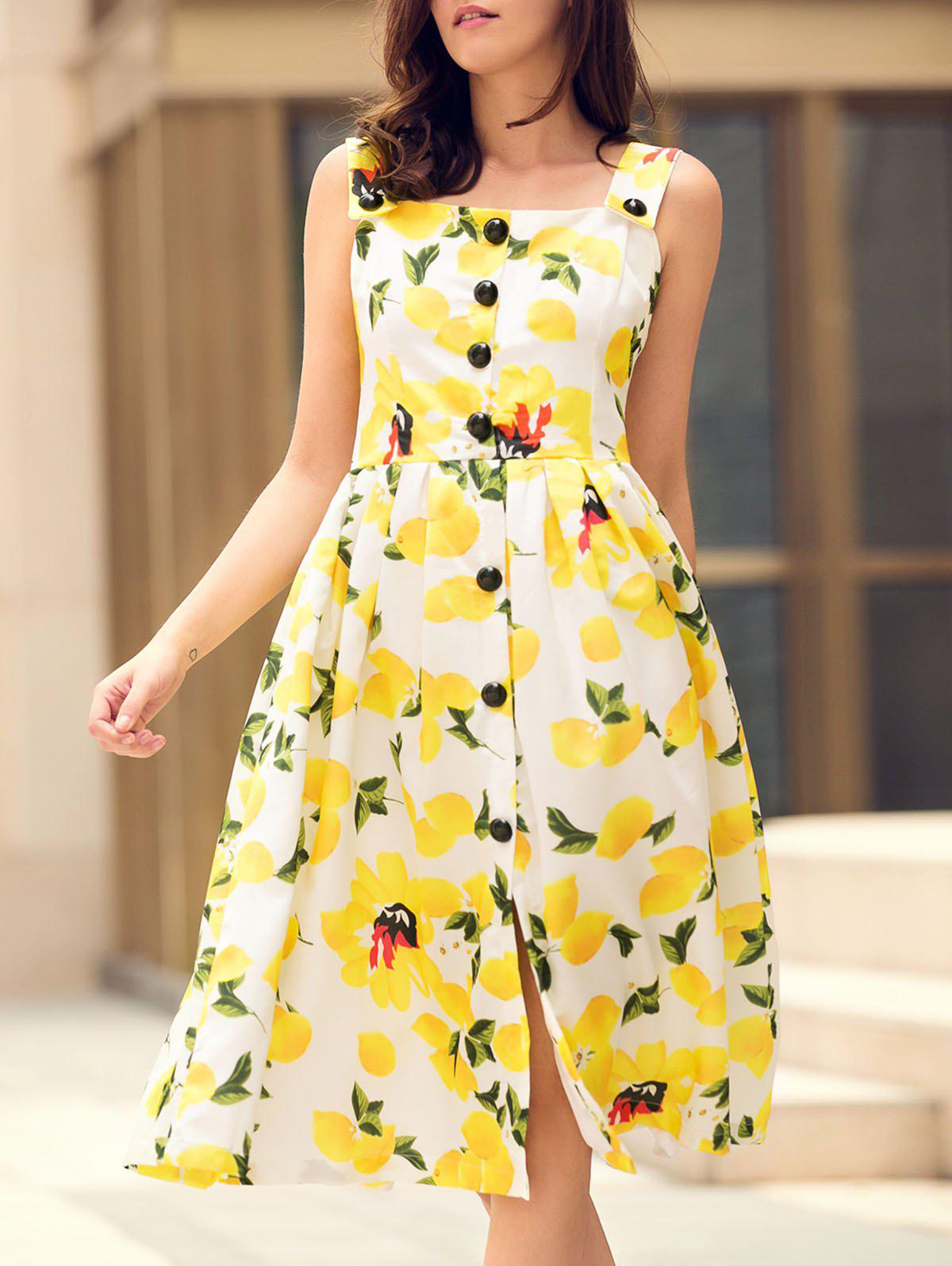 Refreshing Square Neck Sleeveless Lemon Print Women's Midi Dress - YELLOW S