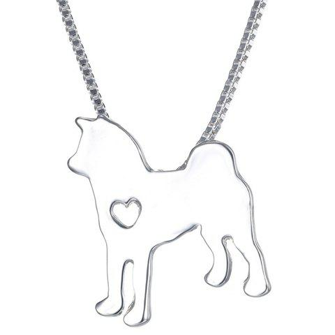 Simple Heart Husky Dog Shape Pendant Necklace For Men - SILVER