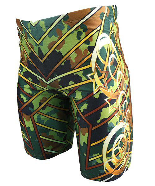 Stars Printed Elastic Waist Men's Swimming Trunks - GREEN 4XL