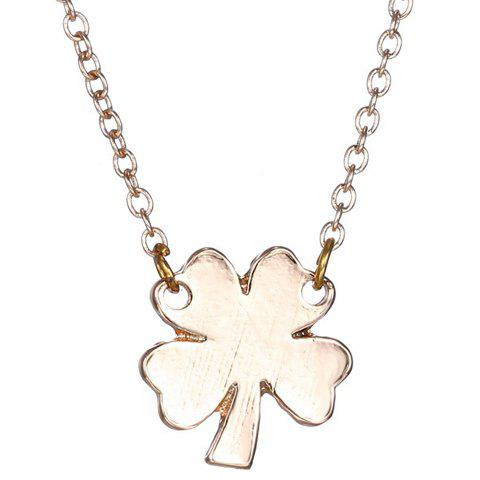 Simple Four Leaf Clover Shape Pendant Necklace For Women - GOLDEN