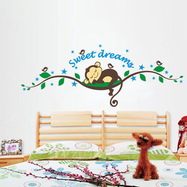 Stylish Monkey Forest Pattern Wall Stickers For Children's Bedroom Decoration