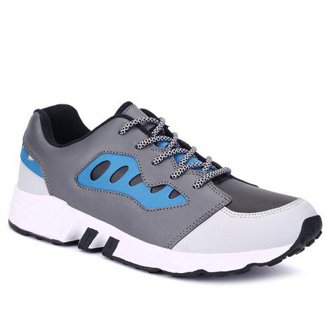 Leisure Color Matching and PU Leather Design Men's Athletic Shoes - BLUE 44