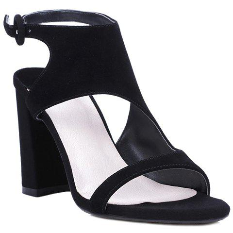 Elegant Black Color and Chunky Heel Design Women's Sandals - BLACK 36