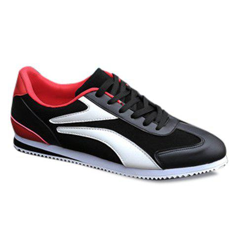 Casual Color Matching and Splicing Design Men's Athletic Shoes - BLACK 44