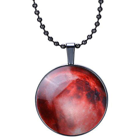 Round Shape Starry Sky Pattern Noctilucence Pendant Necklace - RED