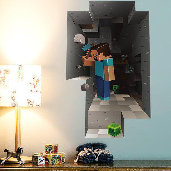 Stylish 3D Mosaic Mining Pattern Wall Stickers For Children's Bedroom Decoration