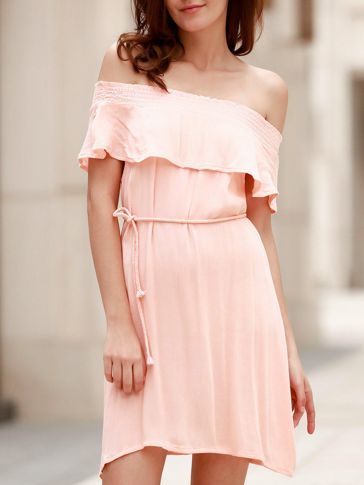 Trendy Short Sleeve Boat Neck Solid Color Women's Dress - LIGHT PINK S